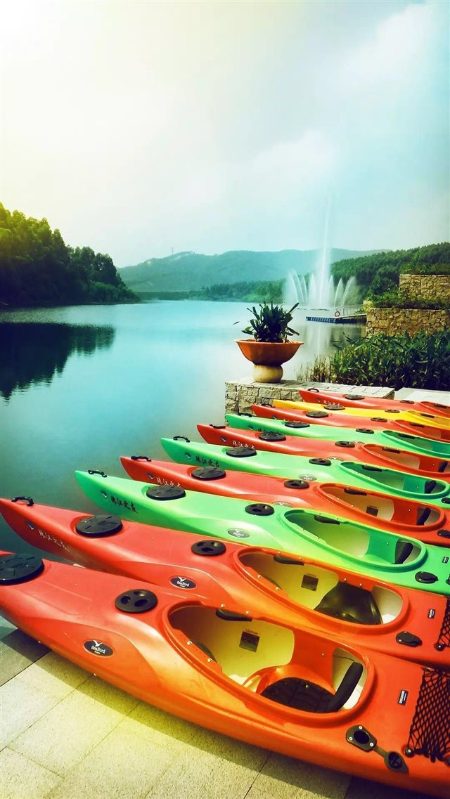 Summer Canoeing In Place Calm River Bank iPhone 8 wallpaper