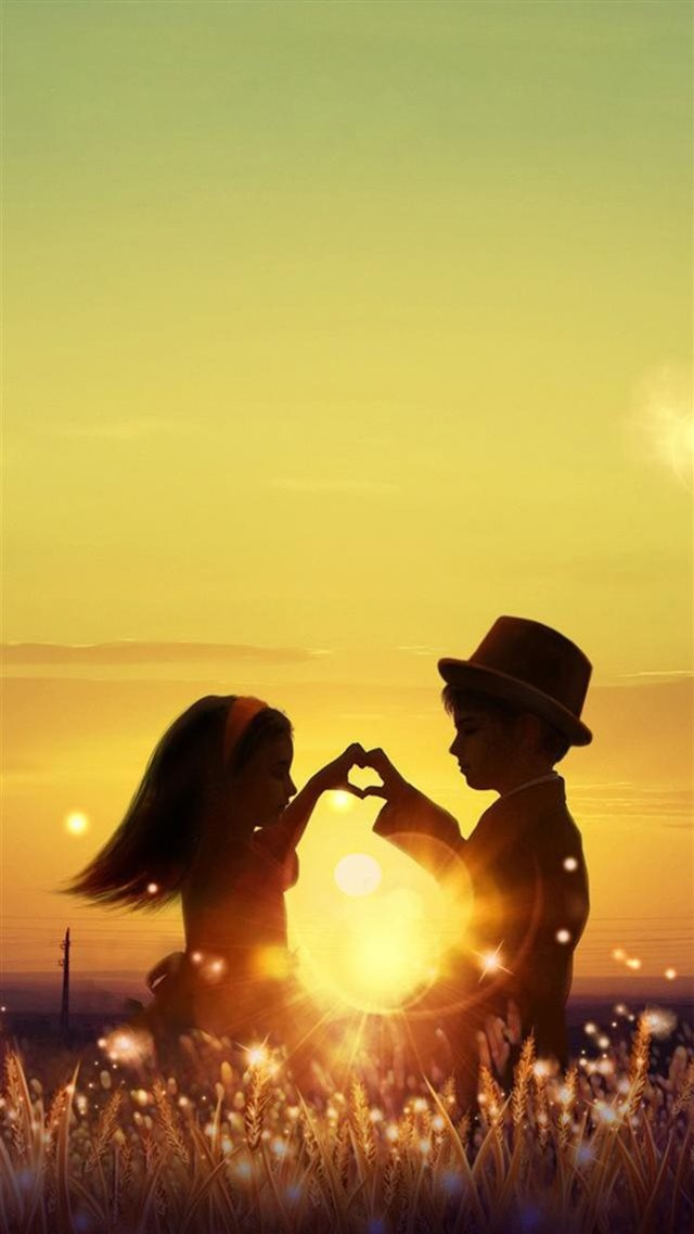 Sunset Love Cute Kids Couple Sunlight Flowers Field iPhone 8 wallpaper