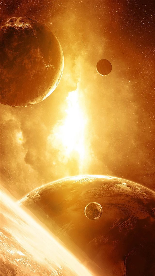 Golden Brilliant Lights Fire Smoke Planet iPhone 8 wallpaper