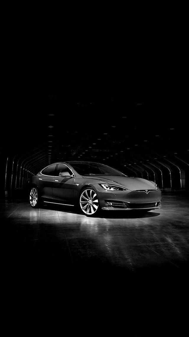 Tesla Model Concept Dark Bw Car Iphone 8 Wallpaper Download Iphone