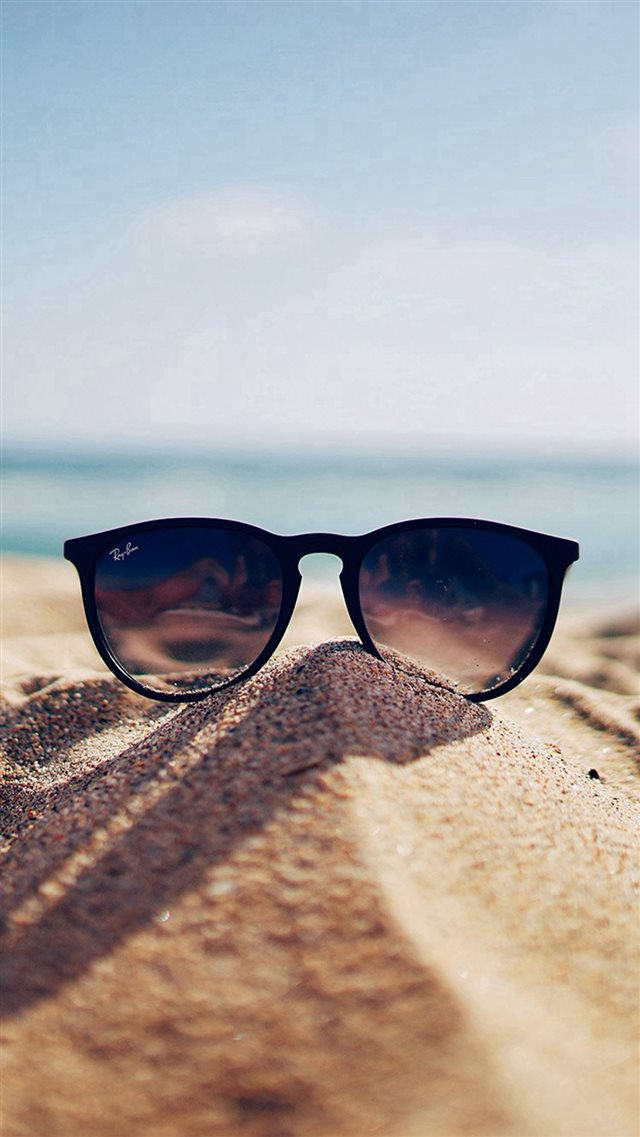 Nature Glass Sun Rayban Bokeh Vacation Sea Summer iPhone 8 wallpaper