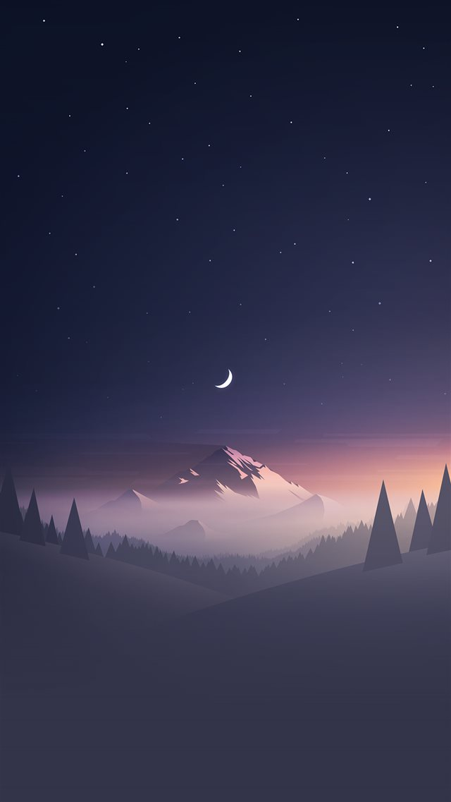 Stars And Moon Winter Mountain Landscape  iPhone 8 wallpaper