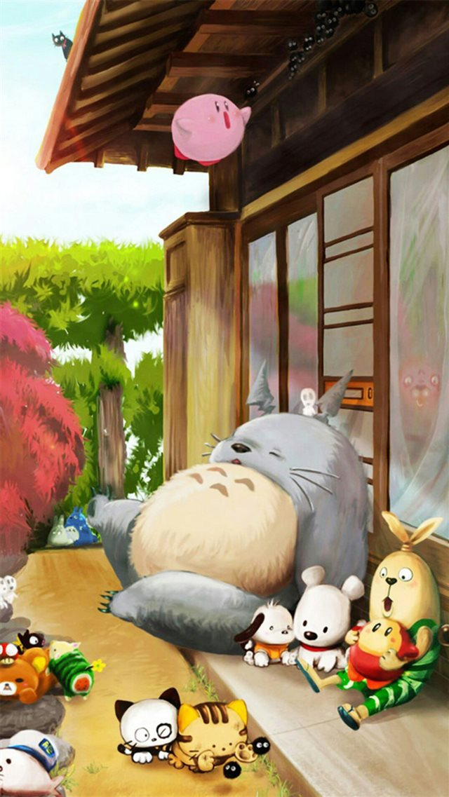 Dreamy Cute Lovely Totoro Window Outside iPhone 8 wallpaper