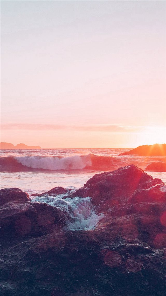 Sea Ocean Nature Sunset Rock Wave Blue Red iPhone 8 wallpaper