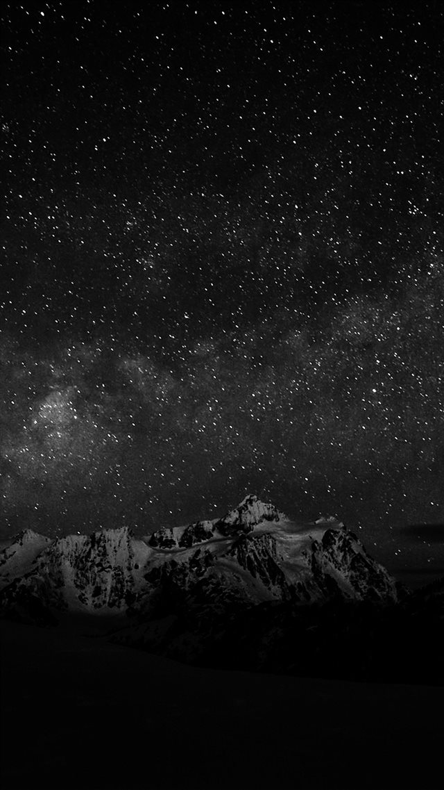 Starry Night Sky Mountain Nature Bw Dark iPhone 8 wallpaper