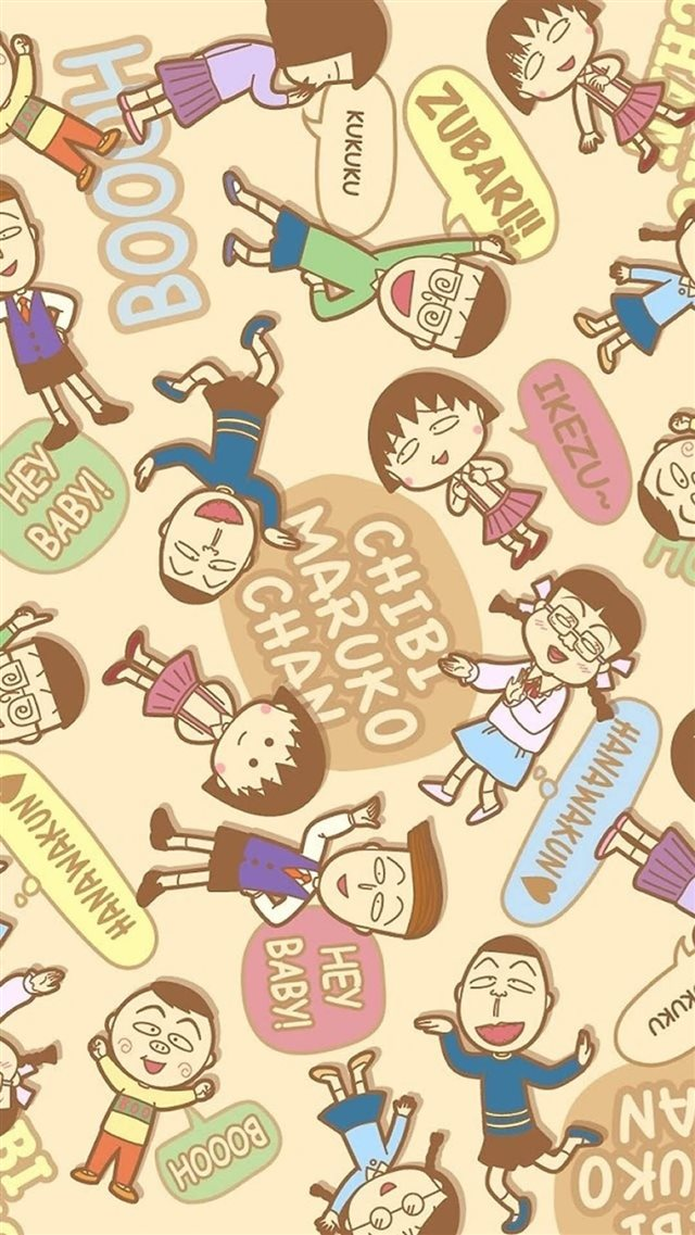 Chibi Maruko Cartoon Pattern Background iPhone 8 wallpaper