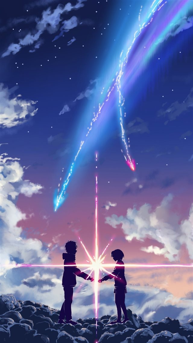 Your Name Movie Touching Through Space Poster iPhone 8 wallpaper