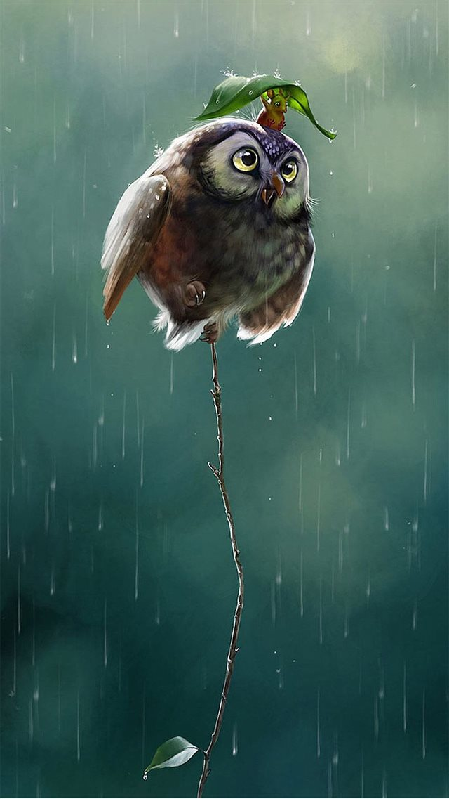 Cute Owl Flying High Rainy Day Covering Leaf iPhone 8 wallpaper
