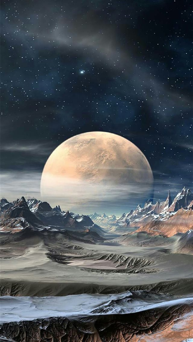 Nature Super Moon Planet Rocky Landscape iPhone 8 wallpaper
