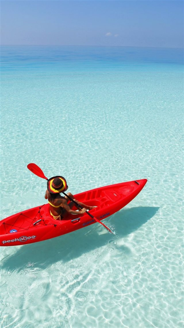 Canoeing Shadow Clear Ocean Endless SkylineSea iPhone 8 wallpaper