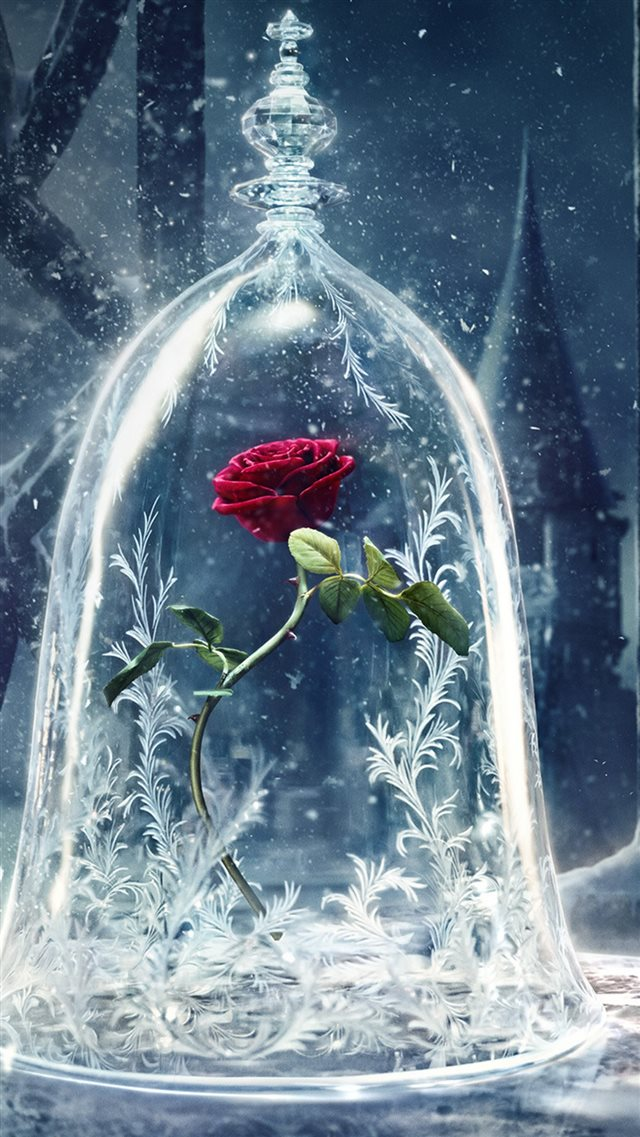 Beauty and the Beast Castle Icy Bell Rose Snowflake iPhone 8 wallpaper