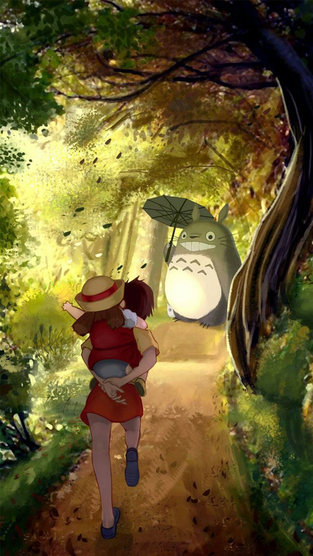 Grove Totoro With Umbrella Waiting Kids Road Anime Cartoon Cute Film iPhone 8 wallpaper