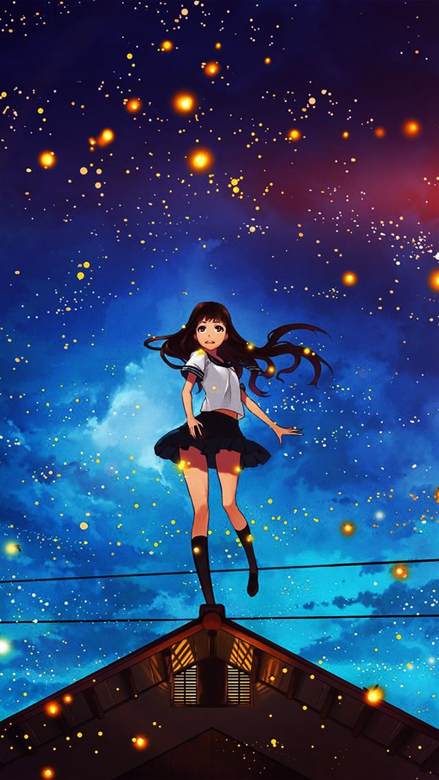 Girl Anime Star Space Night Illustration Art Flare iPhone 8 wallpaper