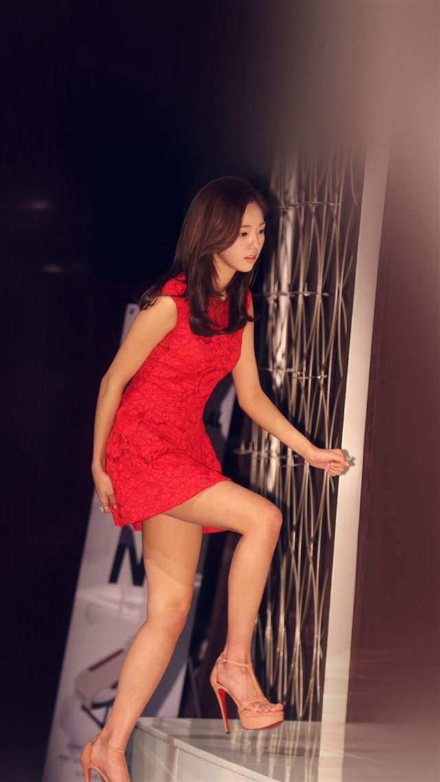 Asian Kpop Star Red Dress Celebrity iPhone 8 wallpaper