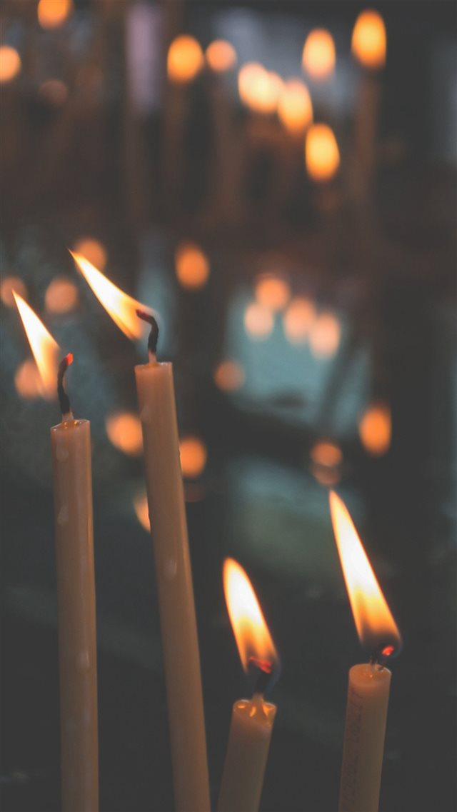 Bokeh Candle Light Nature iPhone 8 wallpaper