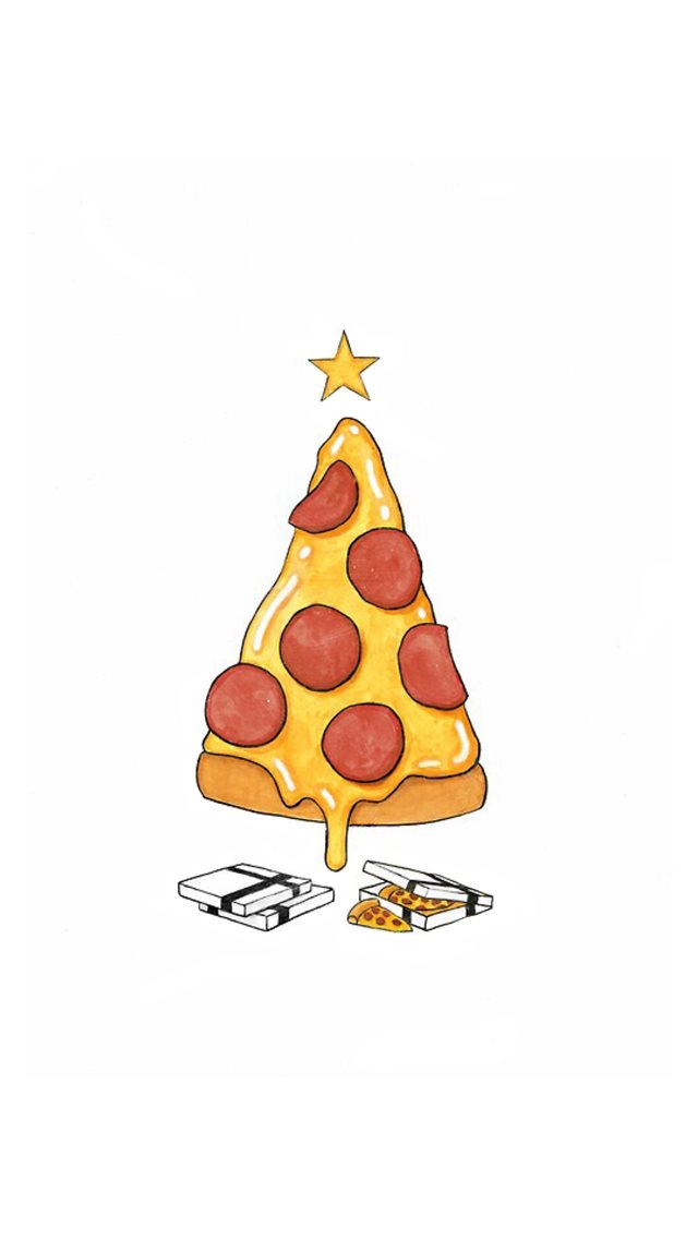 Pizza Christmas Tree Presents iPhone 8 wallpaper