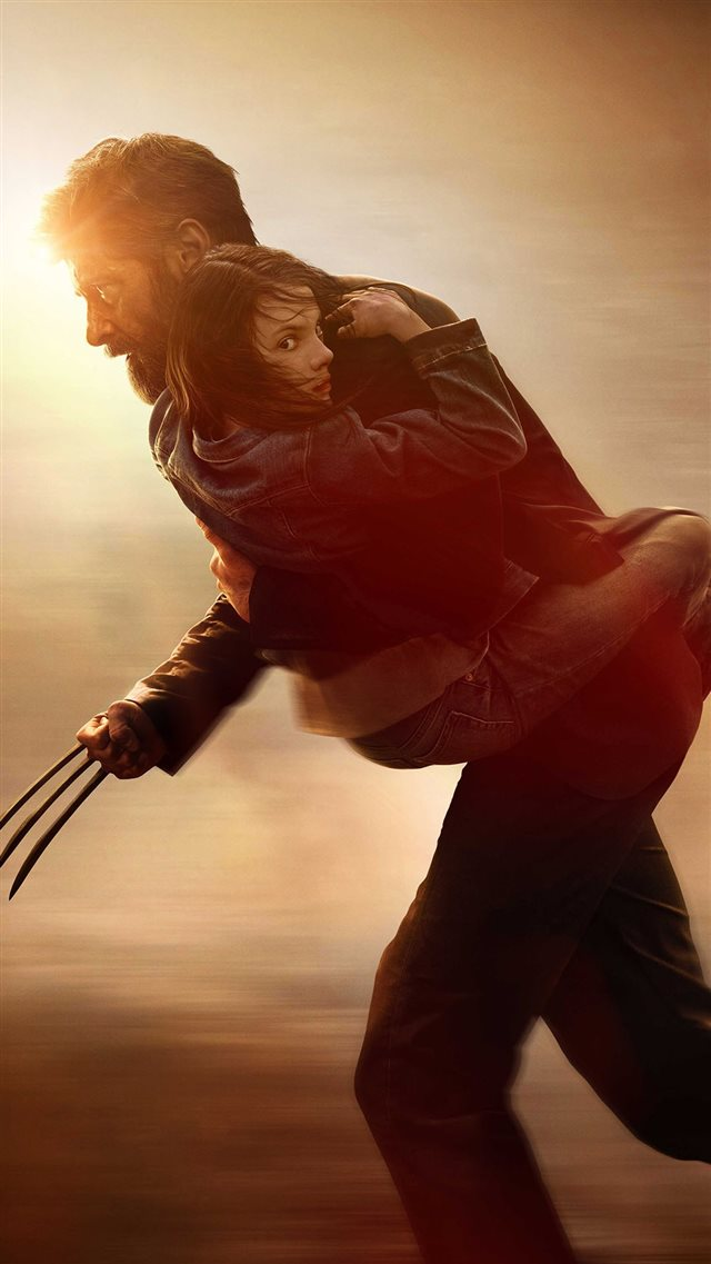 Wolverine Rogan Fight Holding Girl Poster iPhone 8 wallpaper