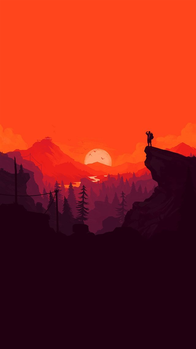 Nature Sunset Simple Minimal Illustration Art Red iPhone 8 wallpaper