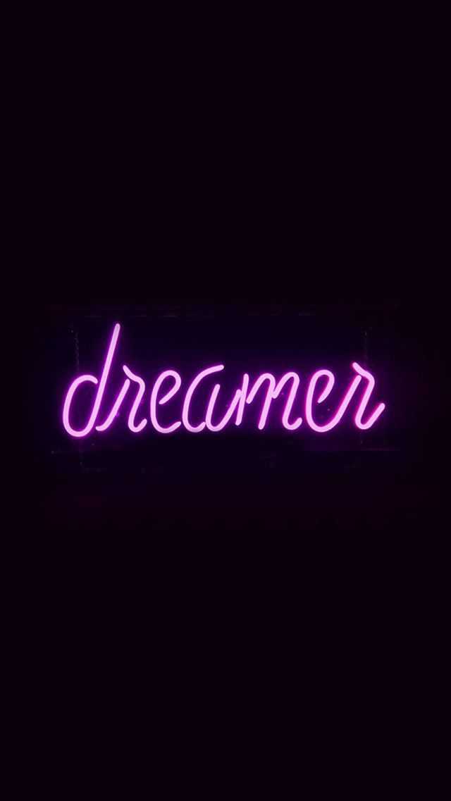 Dreamers Neon Sign Dark Illustration Art Purple iPhone 8 wallpaper