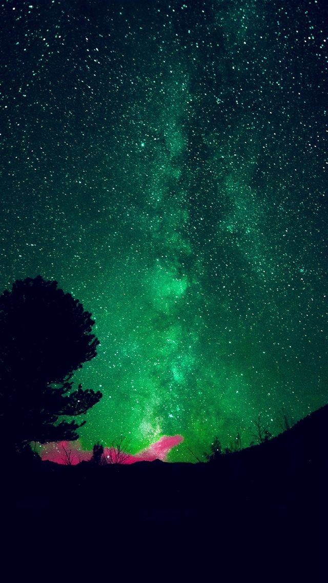 Aurora Night Sky Star Space Nature Green iPhone 8 wallpaper