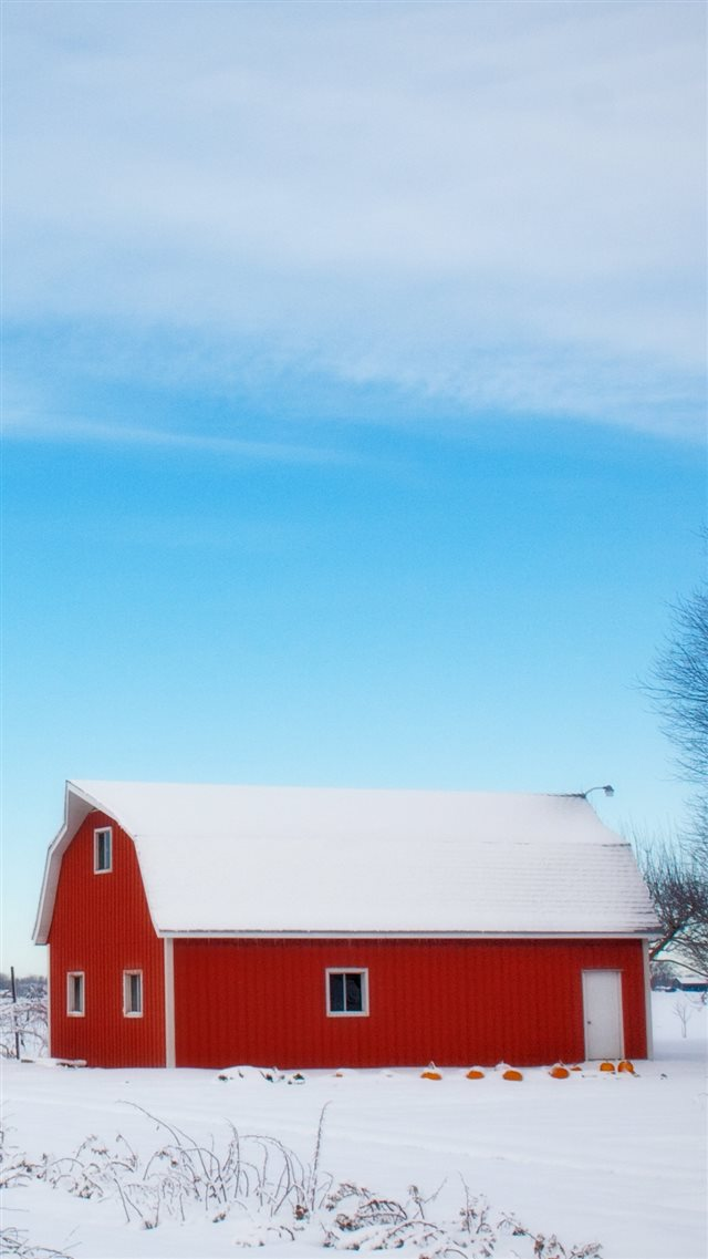 Barn Winter Sky Tree iPhone 8 wallpaper