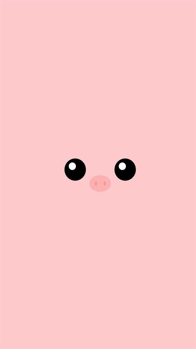Minimal Pink Piggy Cute Eyes iPhone 8 wallpaper