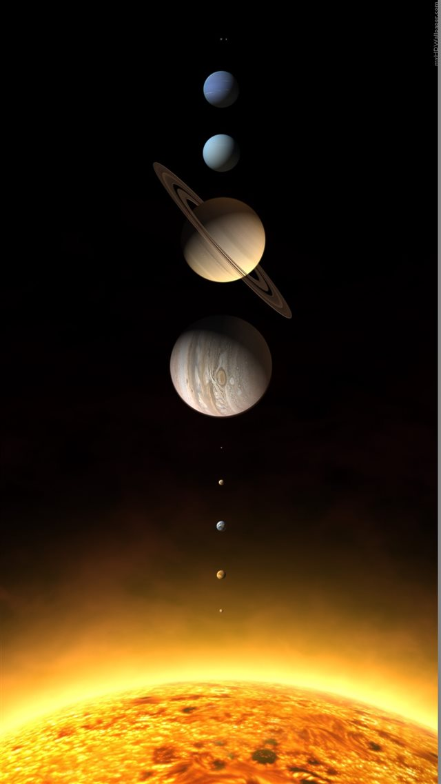Realistic Solar System Planets Rendering iPhone 8 wallpaper
