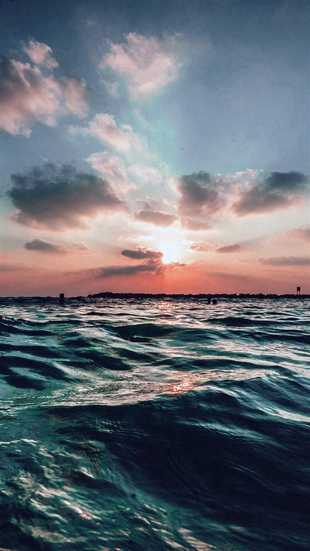 Sunset Sea Sky Ocean Summer Blue Water Nature iPhone 8 wallpaper