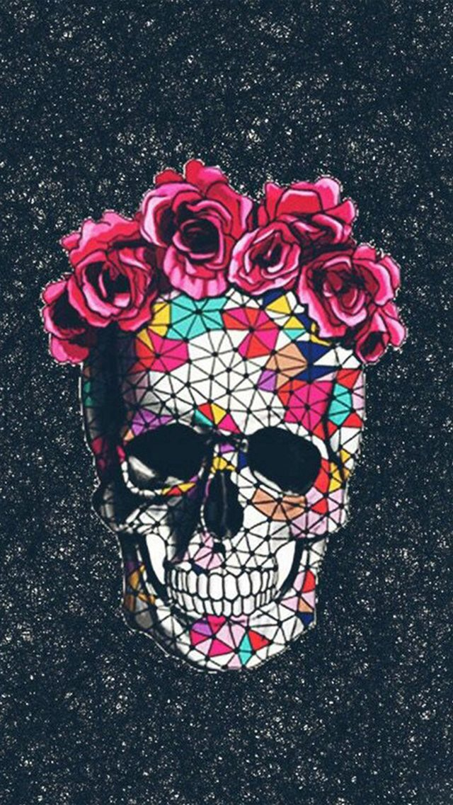 Colorful Skull Roses Space iPhone 8 wallpaper