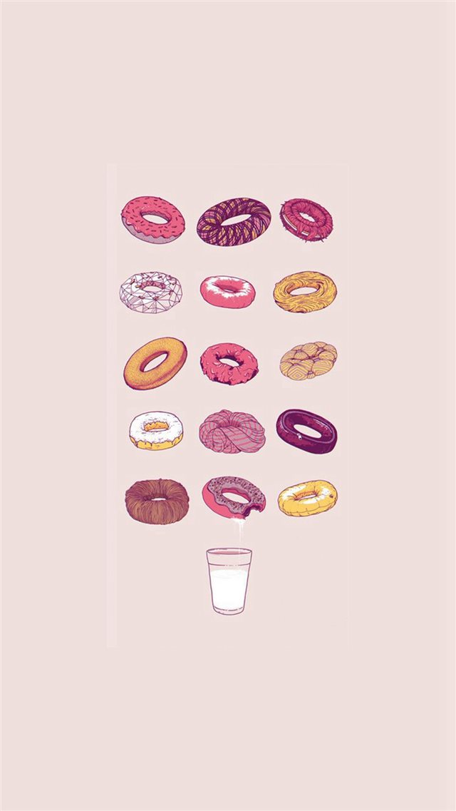 Delicious Donuts Milk Glass Illustration iPhone 8 wallpaper