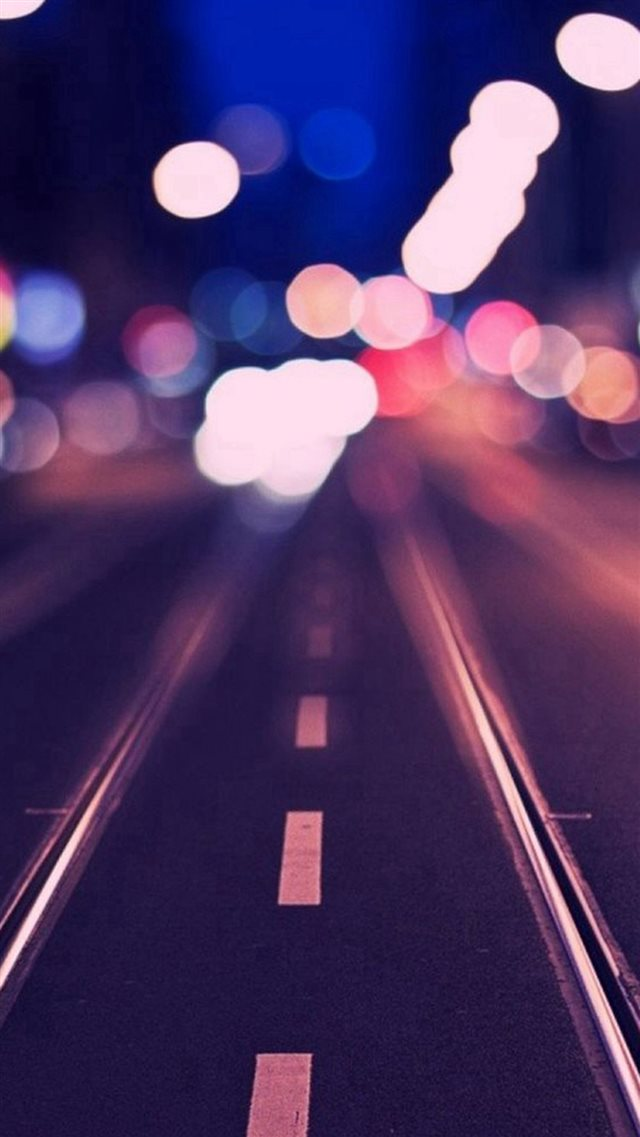 Tram Rail Track Road Bokeh iPhone 8 wallpaper