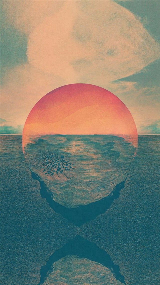 Tycho Art Sunset Green Red Art Retro iPhone 8 wallpaper