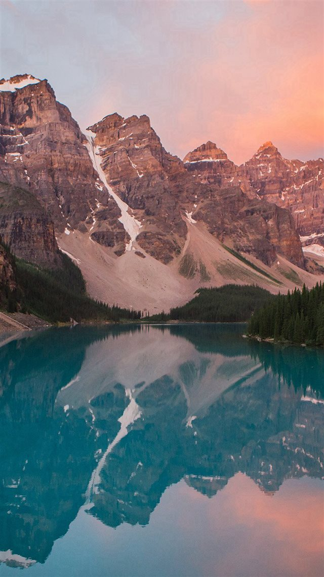 Lake Mountain Pink Sunset Nature iPhone 8 wallpaper