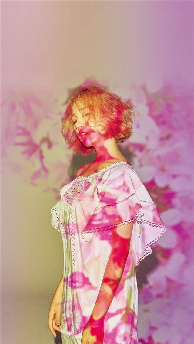 Pink Girl Kpop Spring Floral Flare Shadow iPhone 8 wallpaper