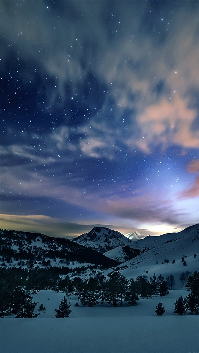 Aurora Star Sky Snow Mountain Winter Nature iPhone 8 wallpaper