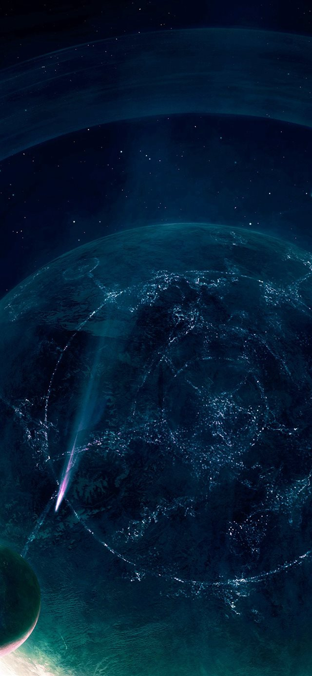 Space Blue Saturn Dark Art Nature iPhone X wallpaper