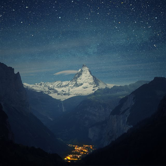 Switzerland Alps Mountains Night Beautiful Landscape iPad Pro wallpaper