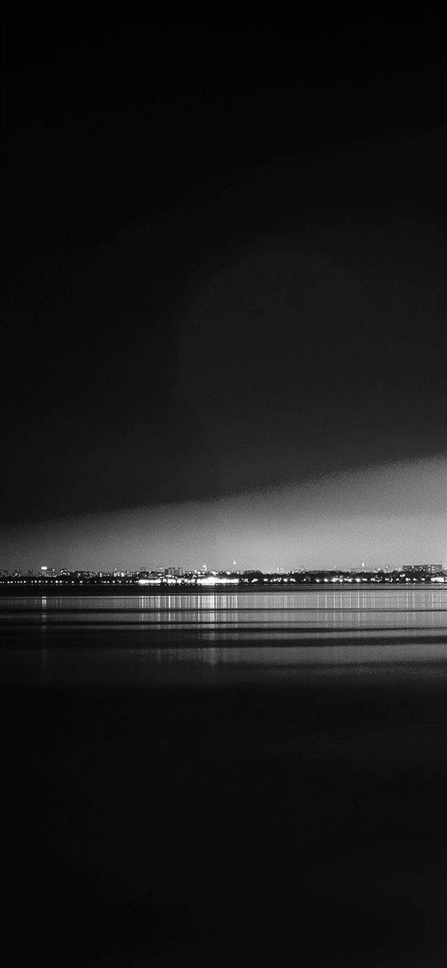 Lake City View Night Dark Nature Awesome Bw iPhone X wallpaper