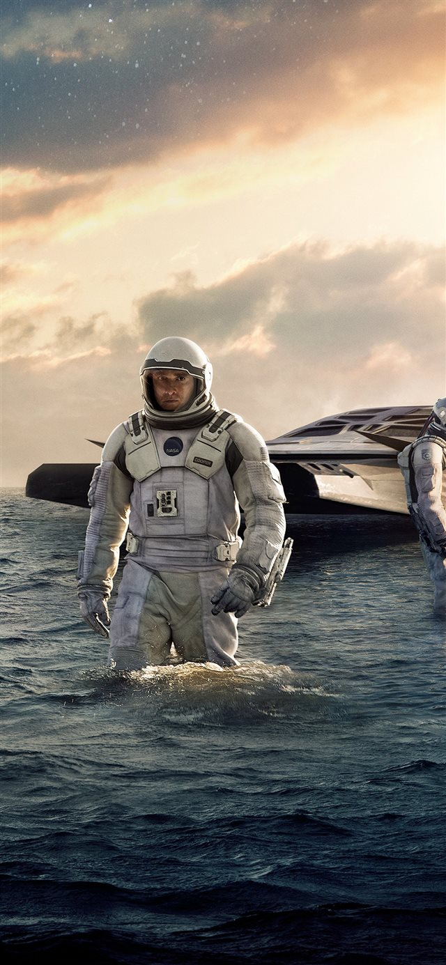 Interstellar Sea Film Space Art iPhone X wallpaper