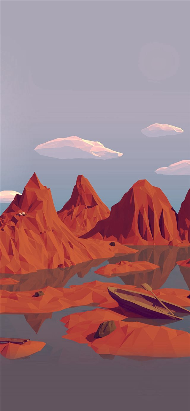 Low Poly Art Mountain Red Illust Art iPhone 11 wallpaper
