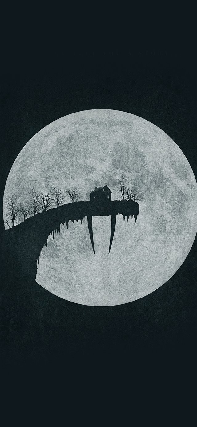 Tusk Moon Poster Illustration Art Dark iPhone 11 wallpaper