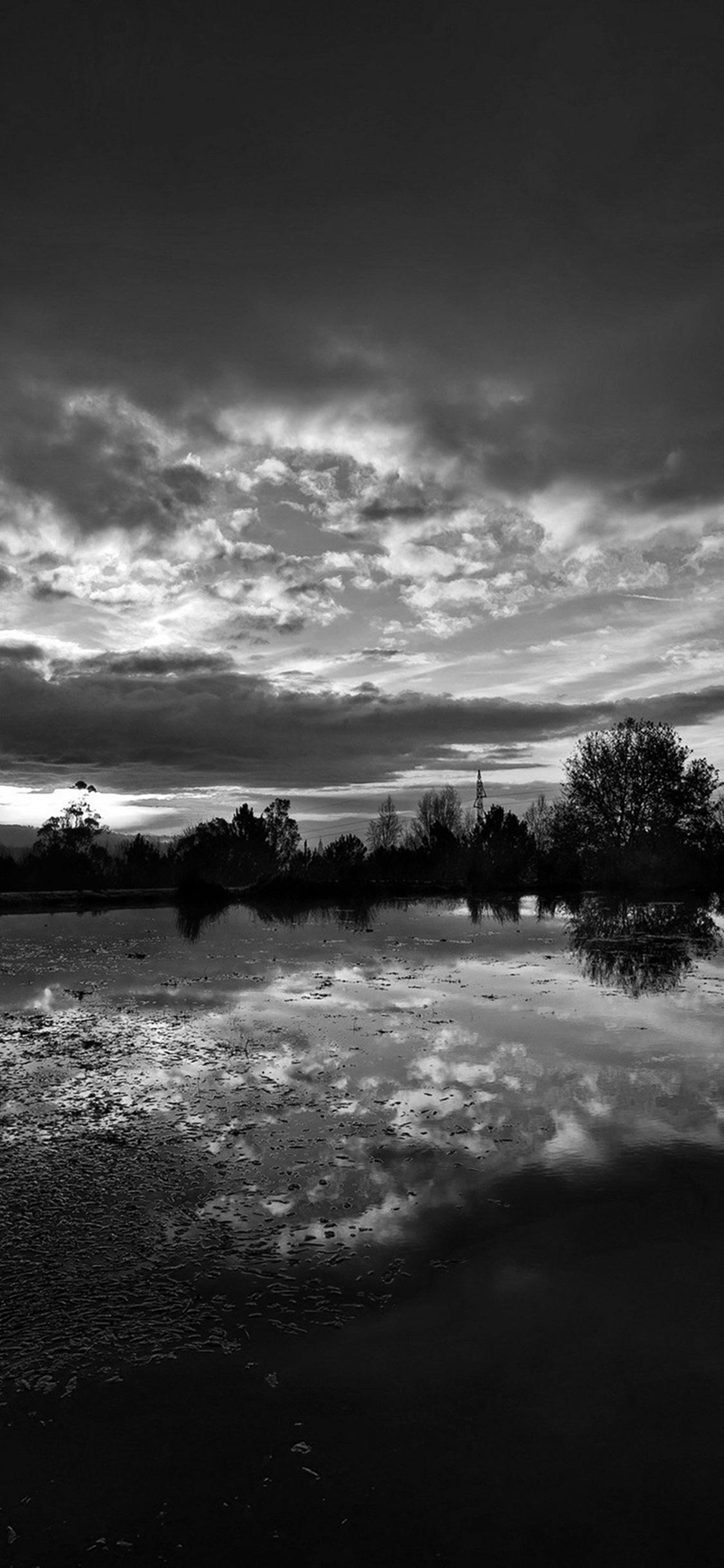 Sunset Lake Night Blue Dark Nature Bw Iphone X Wallpaper Download