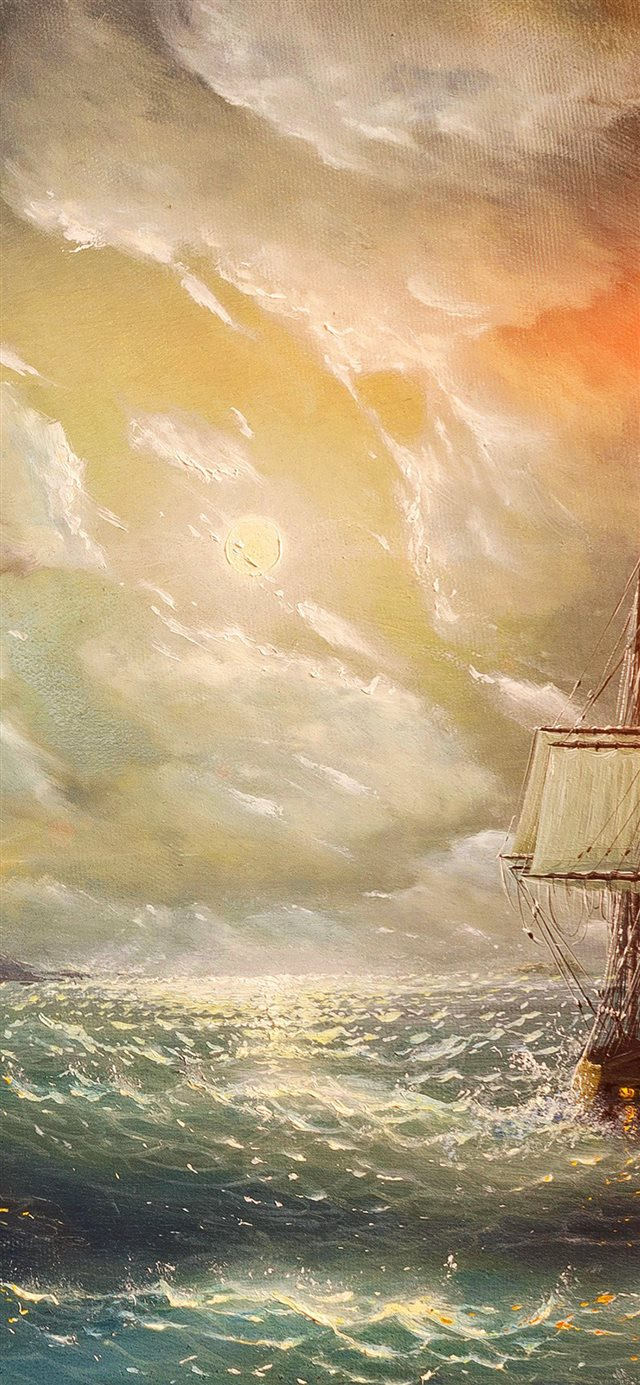 Painting Sea Wave Red Sun Boat Illust Art iPhone X wallpaper