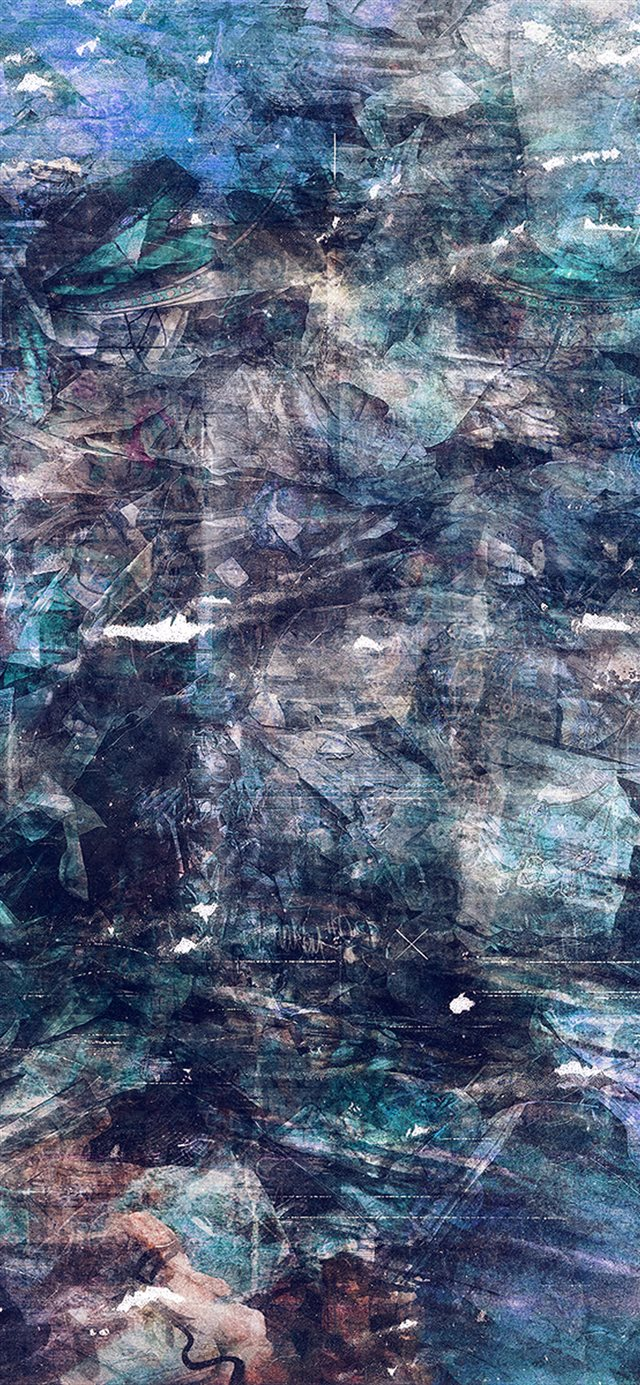 Wonder Lust Art Illust Grunge Abstract Blue iPhone X wallpaper