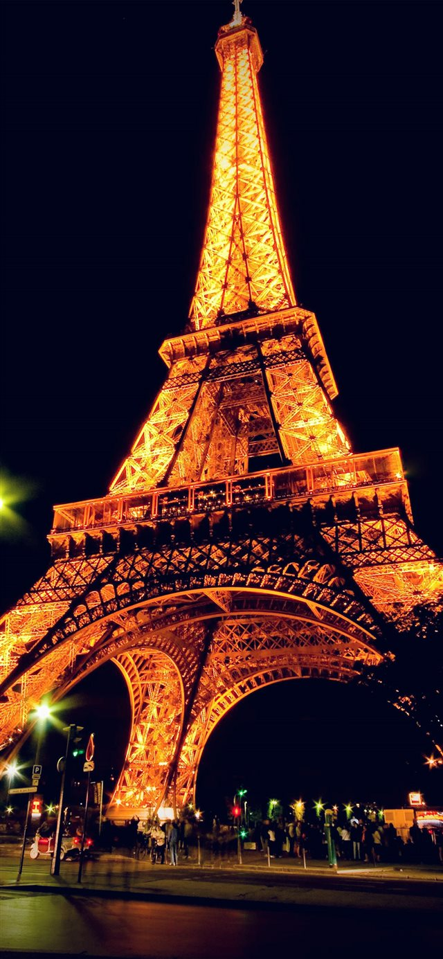 Eiffel Tower Paris Night Art Illustration iPhone 11 wallpaper