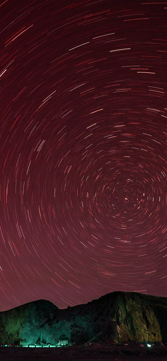 Sky Star Round Night Red Dark Nature Mountain iPhone 11 wallpaper