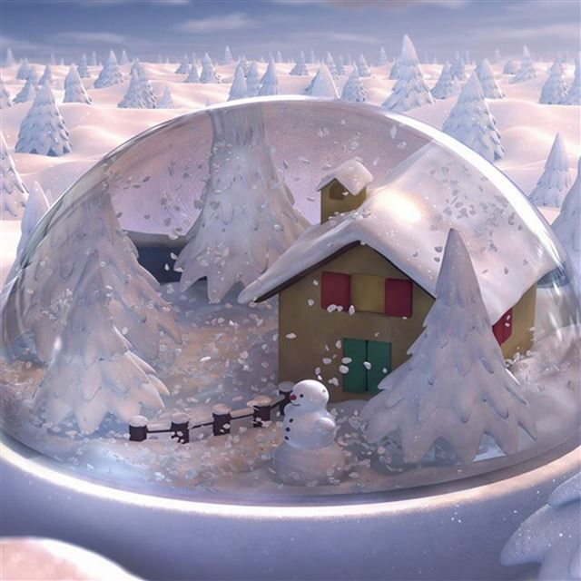 Christmas gift glass snowman snow house fur trees iPad Pro wallpaper