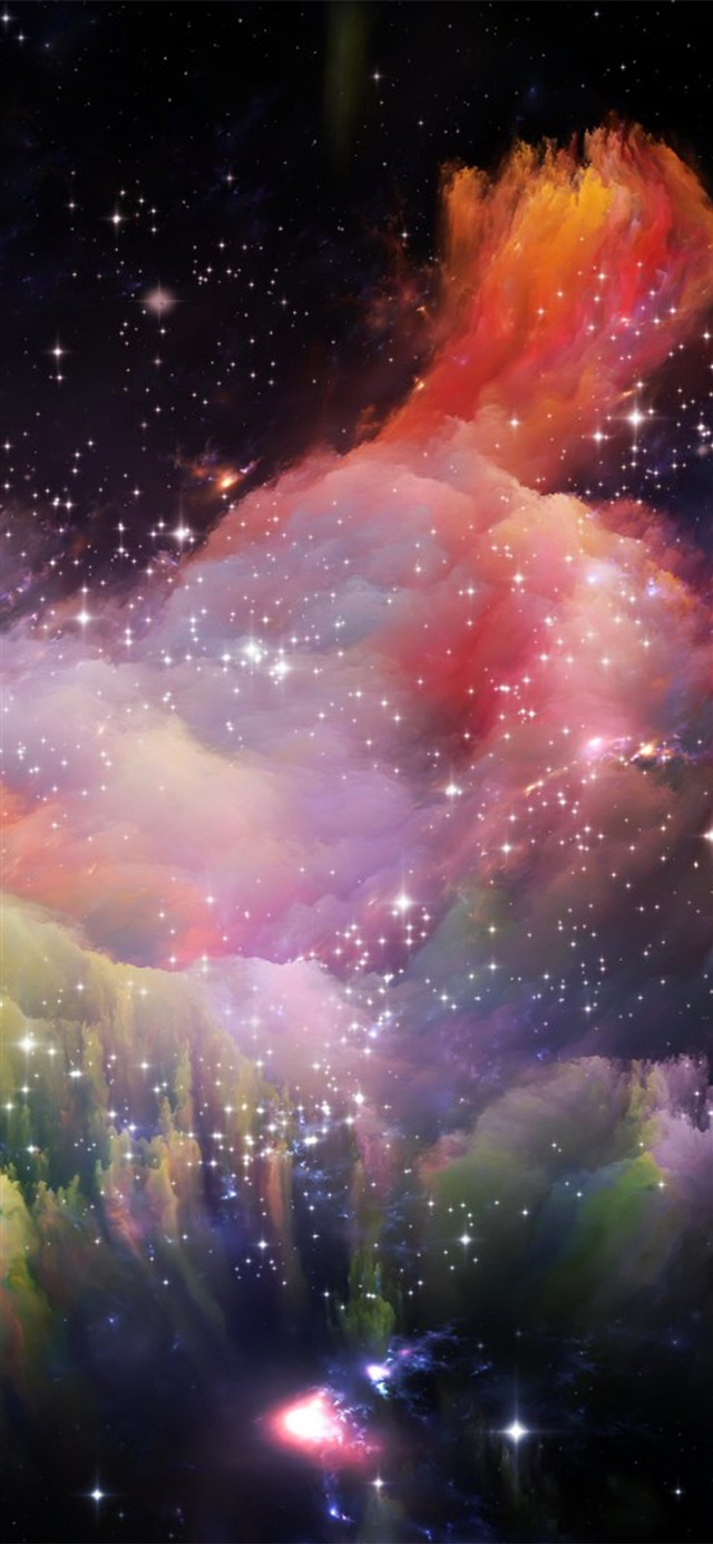 Space rainbow iPhone X wallpaper