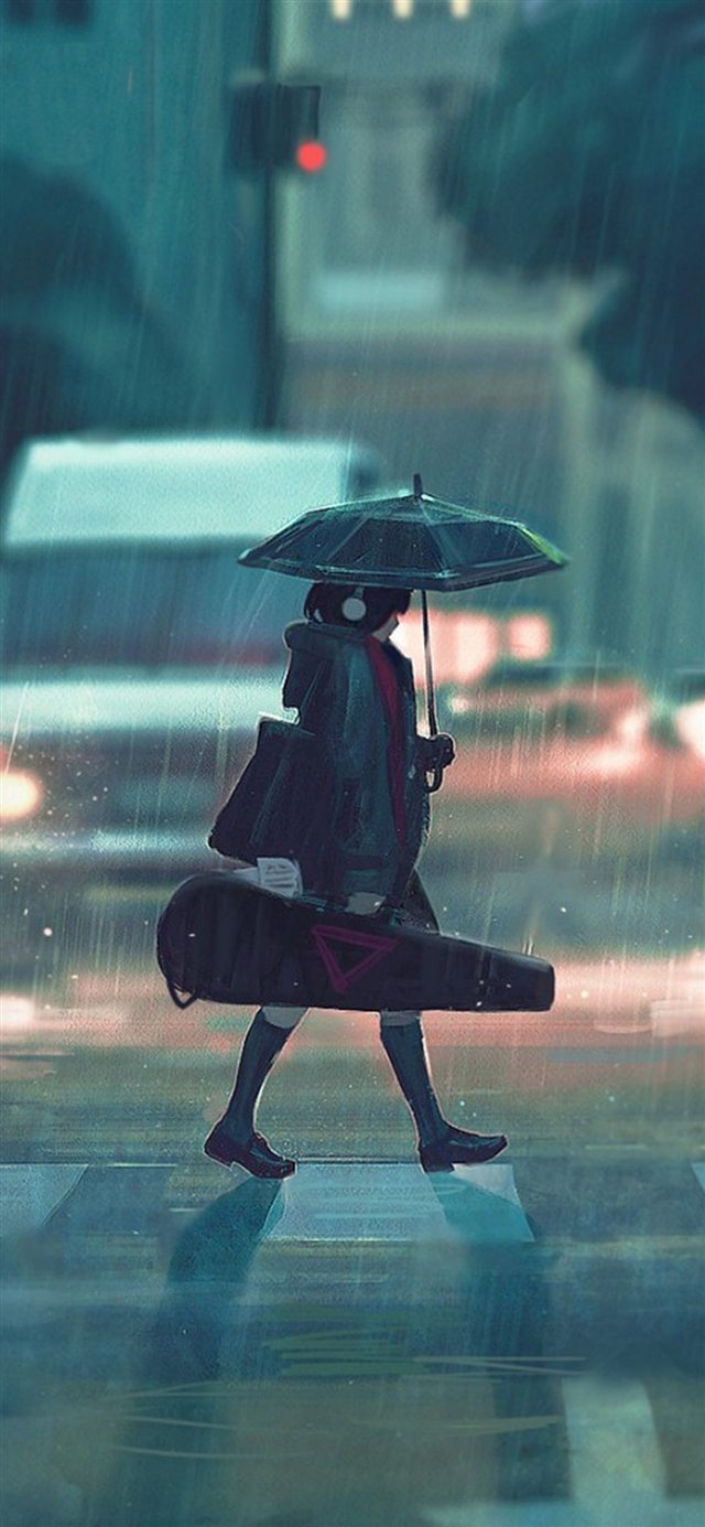 rainy day anime paint girl iPhone 11 wallpaper