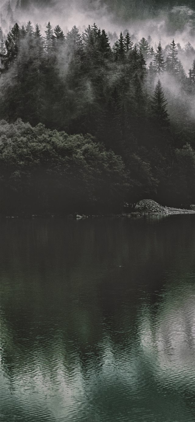 Lake Mountain Water Dark Nature iPhone X wallpaper